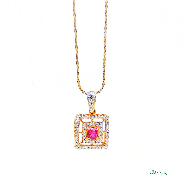 Natural Mogok  Ruby and Diamond Pendant
