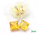 Citrine Emerald-cut and Diamond Earrings