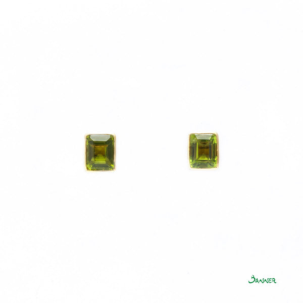 Peridot Emerald-cut Stud Earrings