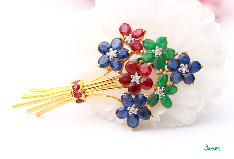 Ruby ,Sapphire and Emerald and Diamond Flower Brooch