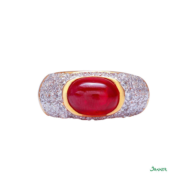 Natural Ruby Cabochon and Diamond Ring