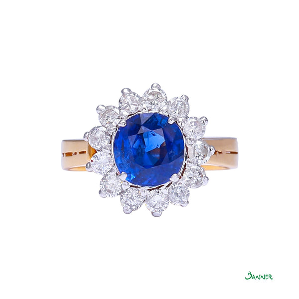 Sapphire and Diamond Sunflower Ring