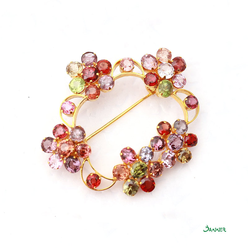 Assorted Gems Flower Brooch