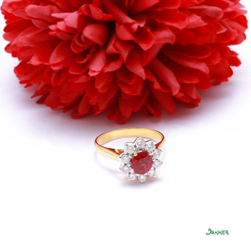 Ruby and Diamond Sunflower Ring