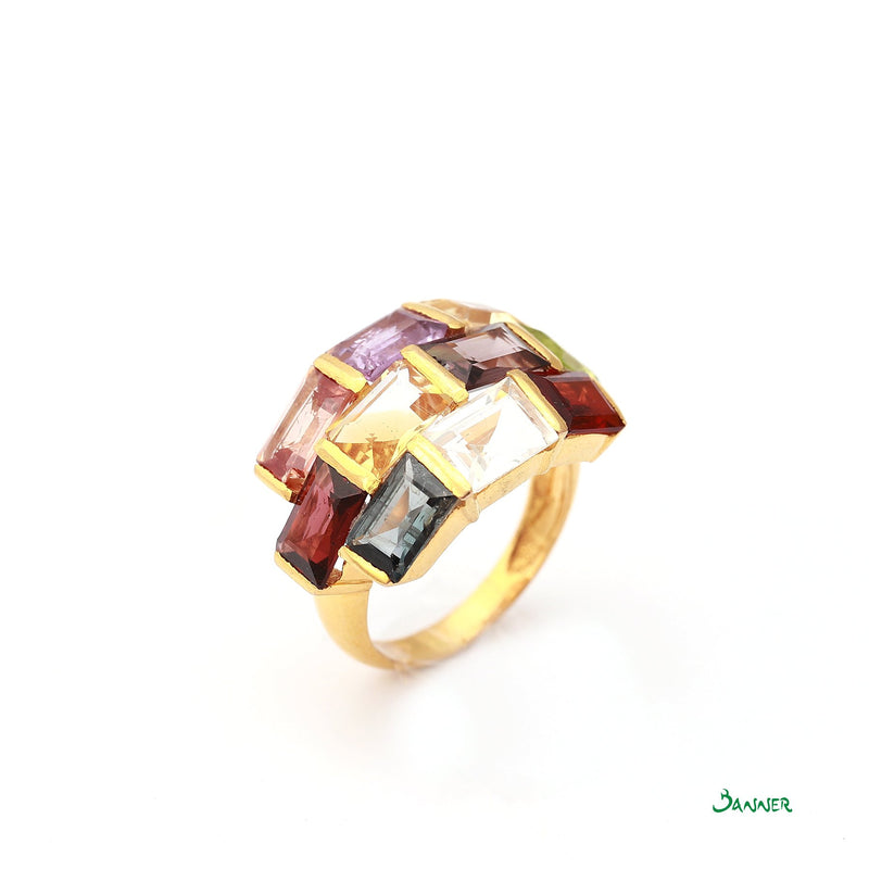Assorted Gems Emerald-cut Ring