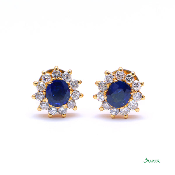 Sapphire and Diamond Sunflower Earrings