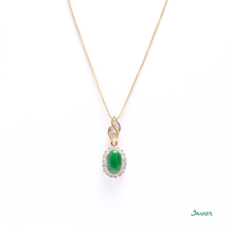 Green Jade and Diamond Halo Pendant