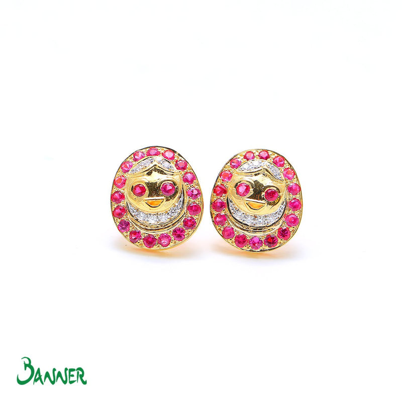 Ruby and Diamond Pyittaingdaung Earrings
