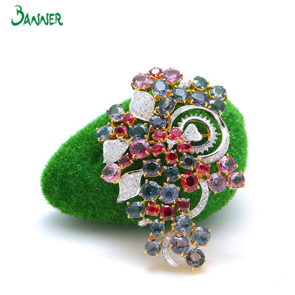 Assorted Gems and Diamond Flower Brooch