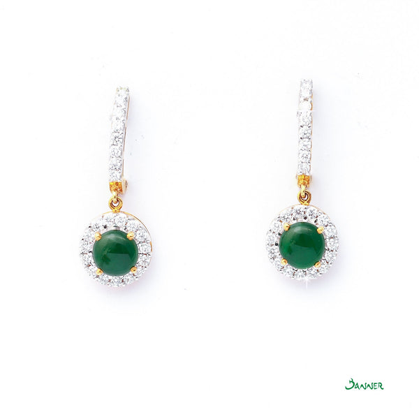 Jade and Diamond Halo Earrings