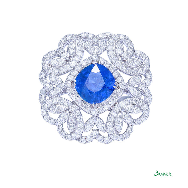 Sapphire and Diamond Elegant Kanote Ring
