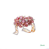 Pink Spinel and Diamond Brooch