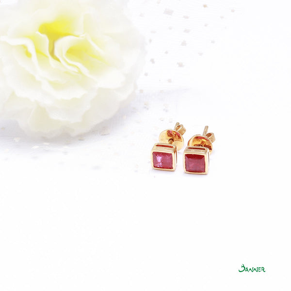 Ruby Emerald-cut Stud Earrings