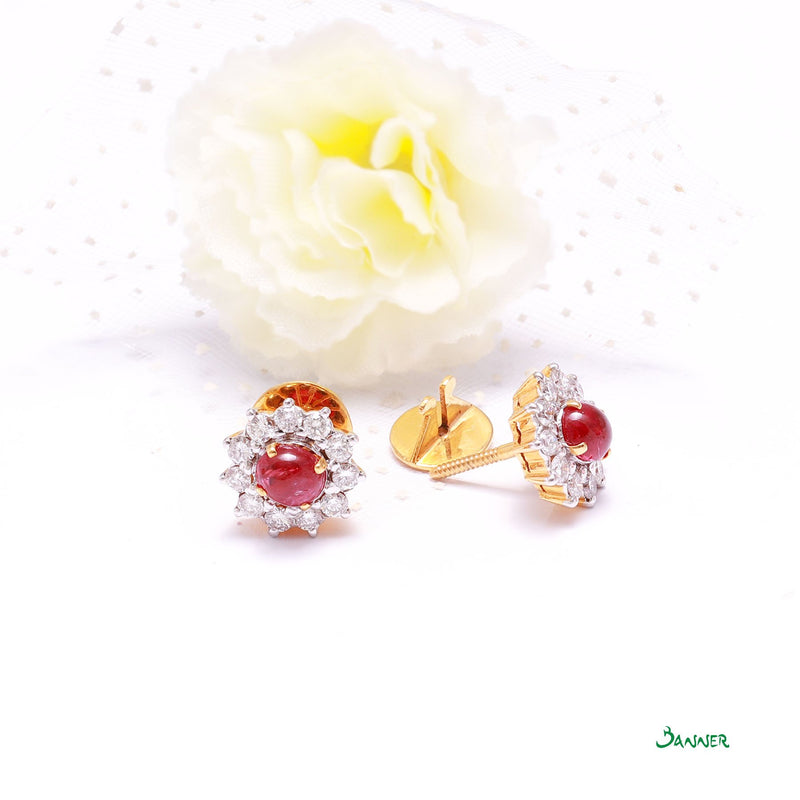 Ruby Cabochon and Diamond Sunflower Earrings