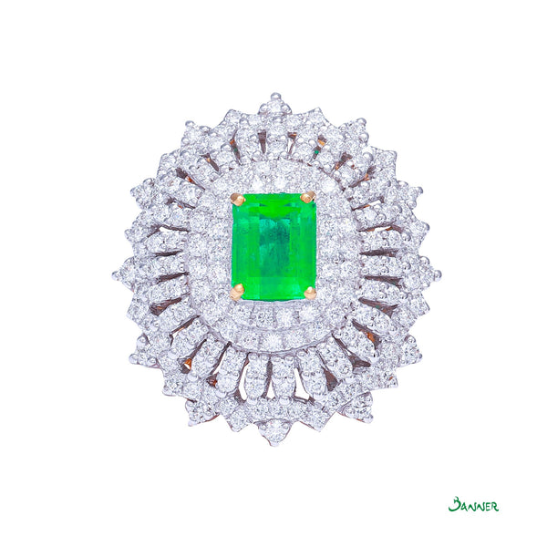 Columbian Emerald and Diamond Ring