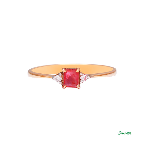 Ruby Emerald-cut and Diamond Ring