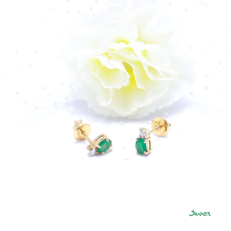 Emerald and Diamond Petite Earrings
