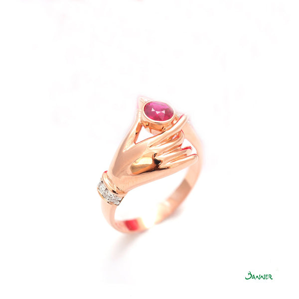 Ruby and Diamond Hand Ring