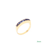 Sapphire Emerald-cut Channel Ring