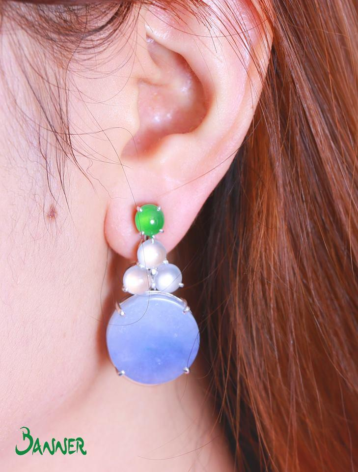 Lavender Jade, White Jade and Green Jade Midnight Earrings
