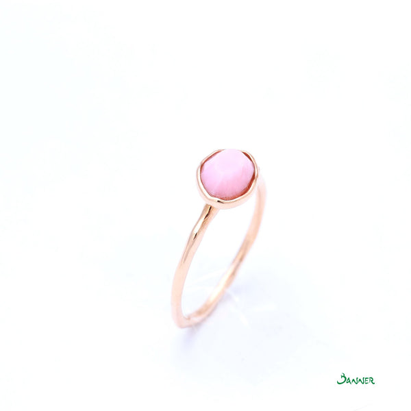 Rose Quartz and Diamond Petite Ring