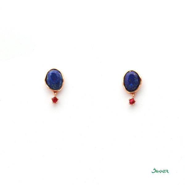 Lapis Lazuli and Ruby Earrings