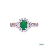 Emerald and Diamond Twisted Halo Ring