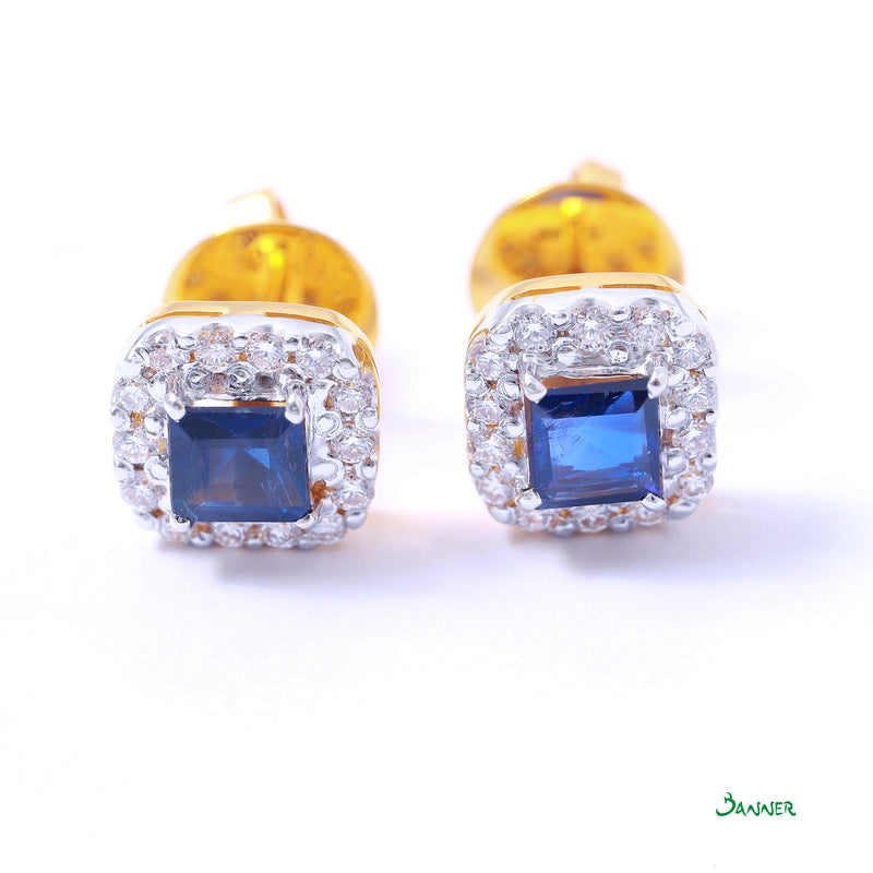 Sapphire Emerald-cut and Diamond Halo Earrings
