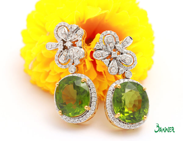 Peridot and Diamond Elegant Earrings