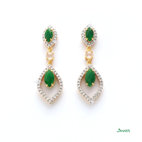 Jade and Diamond Raindrop Earrings