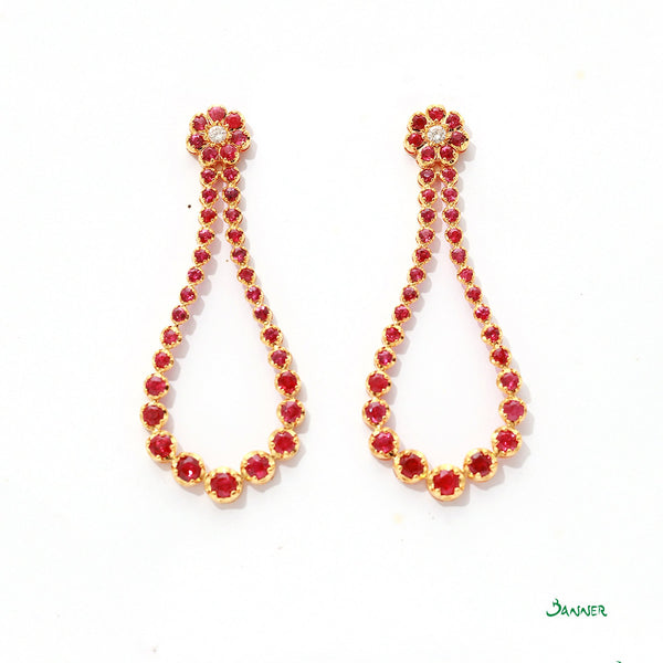 Ruby and Diamond Bell Earrings