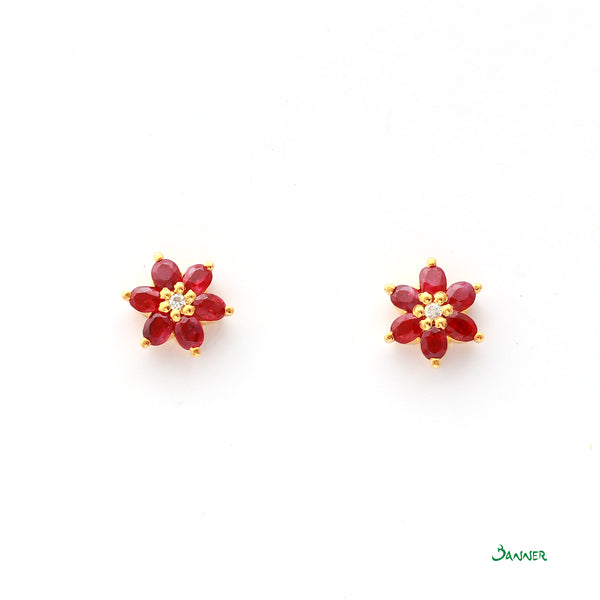 Ruby and Diamond Chel Earrings
