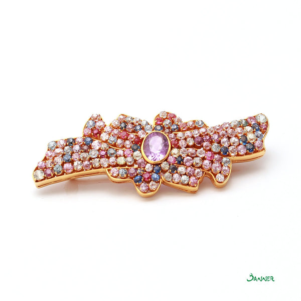 Multi Color Sapphire Flower Brooch