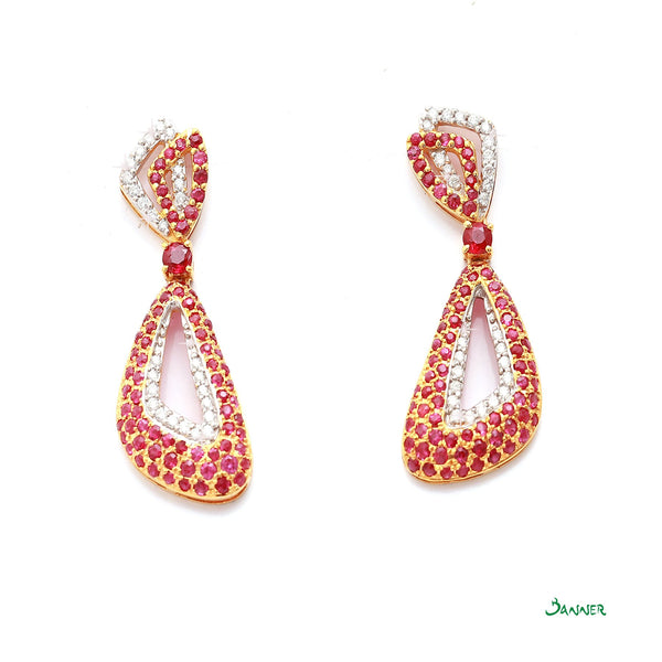 Ruby and Diamond Taung-Pan Earrings