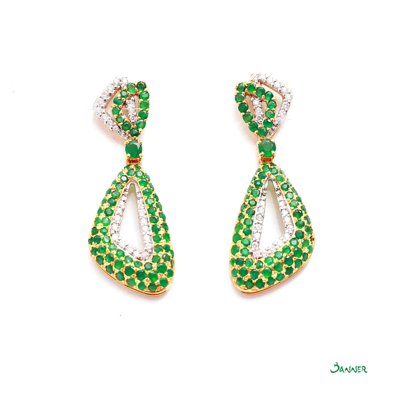 Emerald and Diamond Taung Pan Earrings