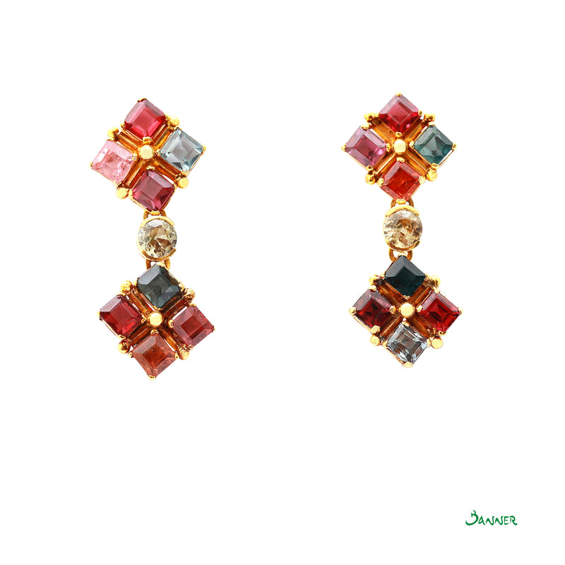 Assorted Gems Emerald-cut Earrings