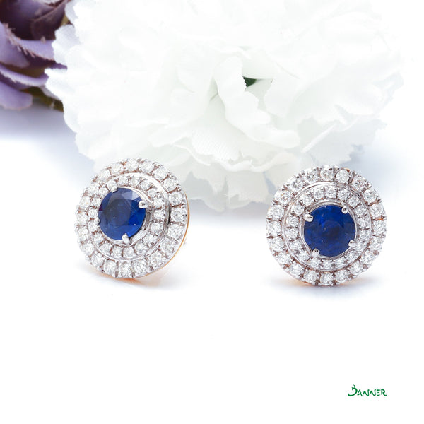 Natural Burmese Sapphire and Diamond Double Halo Earrings