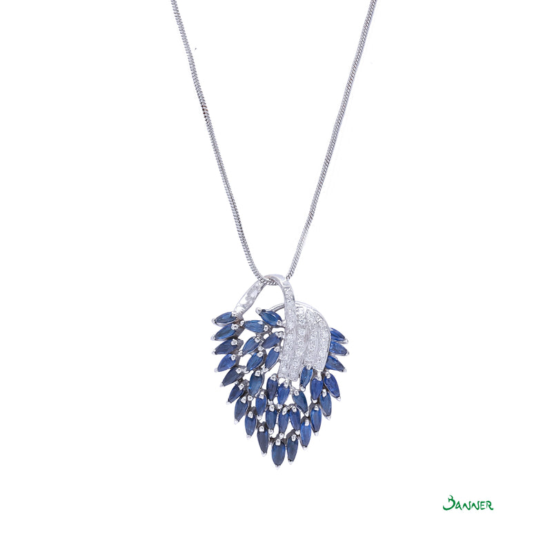Sapphire and Diamond Peacock Pendant