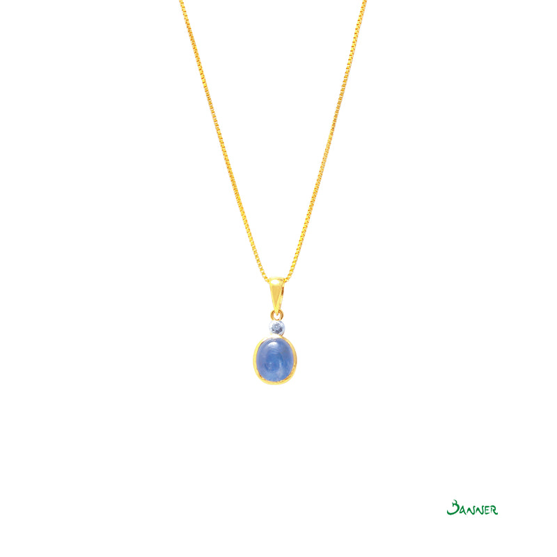 Blue Star Sapphire and Diamond Pendant