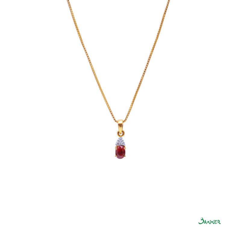 Natural Ruby and Diamond Pendant