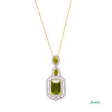 Peridot Emerald-cut and Diamond Pendant