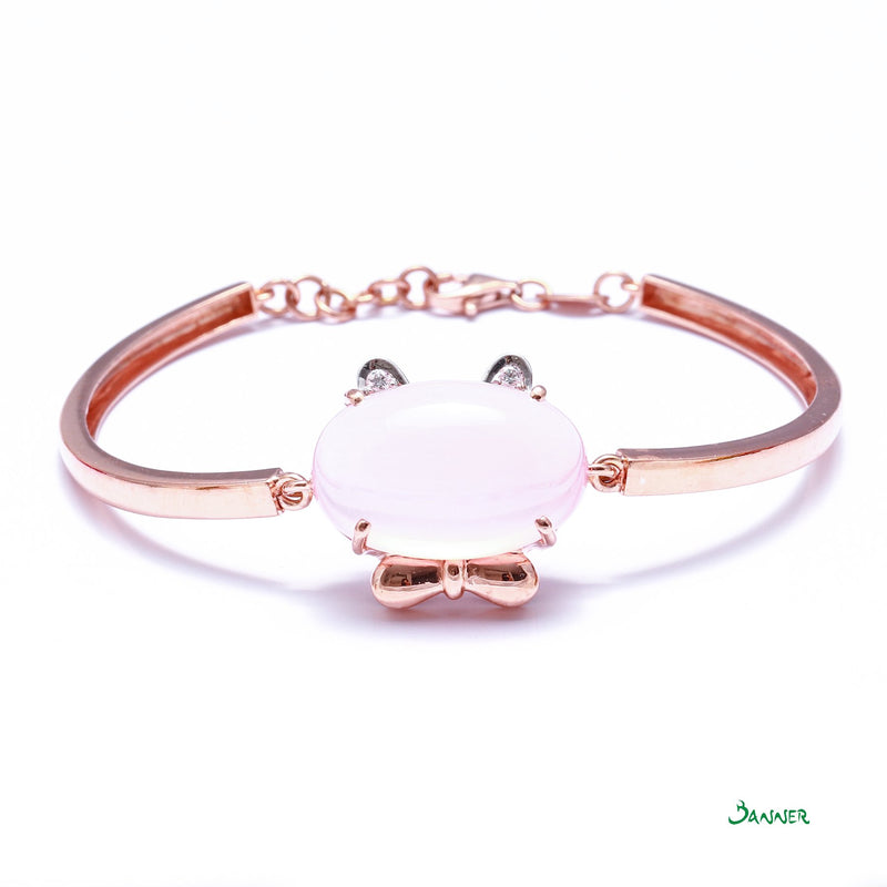 Rose Quartz and Diamond Hello-Kitty Bracelet