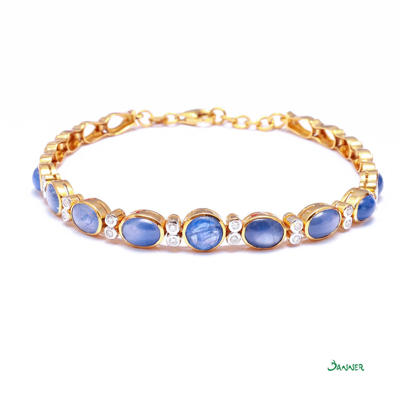 Star Sapphire and Diamond Alternate Bracelet