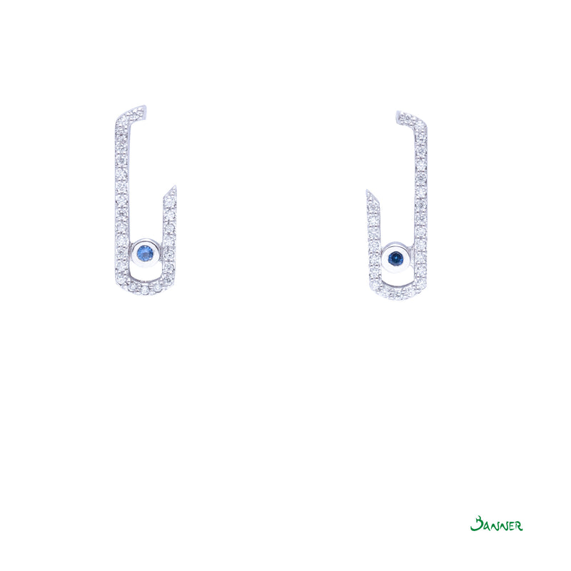 Sapphire and Diamond Paper Clip Earrings