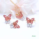 Ruby and Diamond Butterfly Pendant