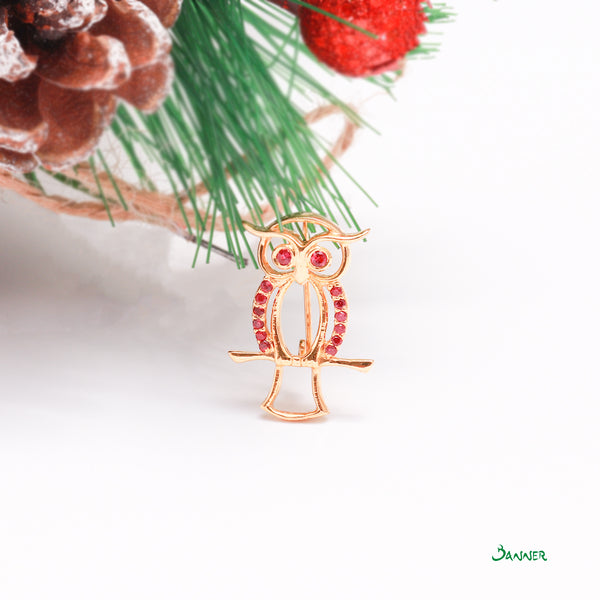 Ruby Owl Brooch