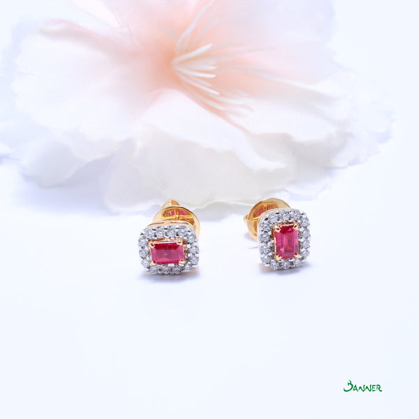 Ruby Emerald-cut and Diamond Halo Earrings
