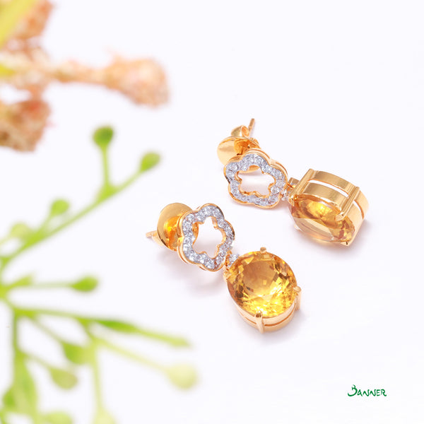 Citrine and Diamond Flower Earrings