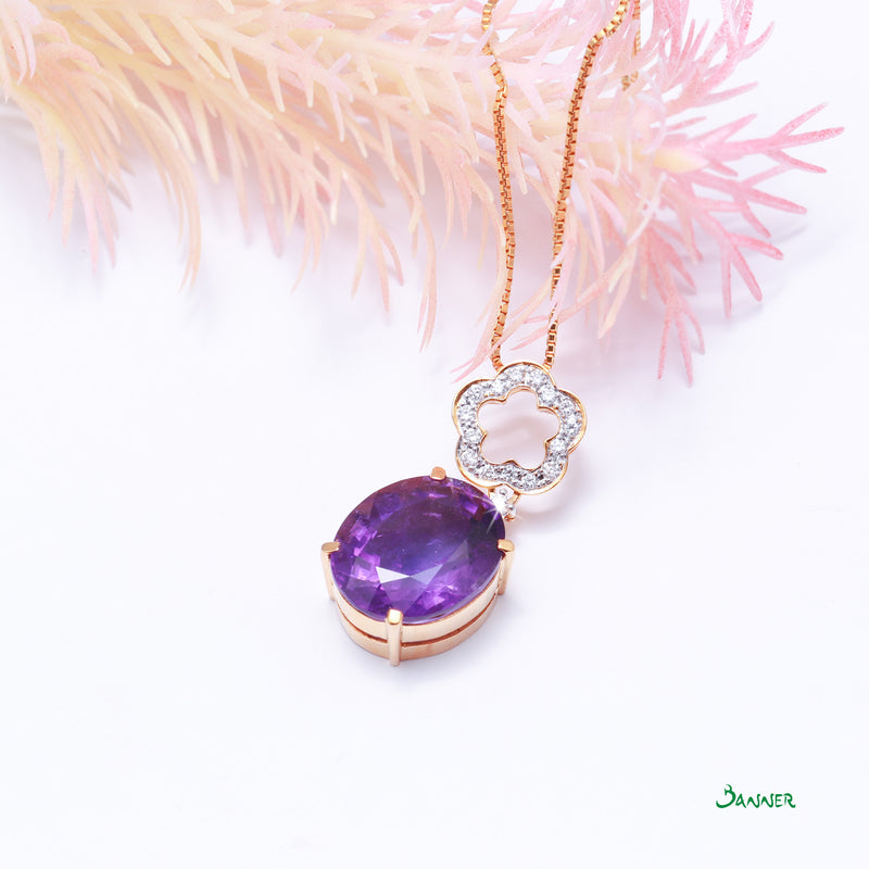 Amethyst and Diamond Flower  Pendant