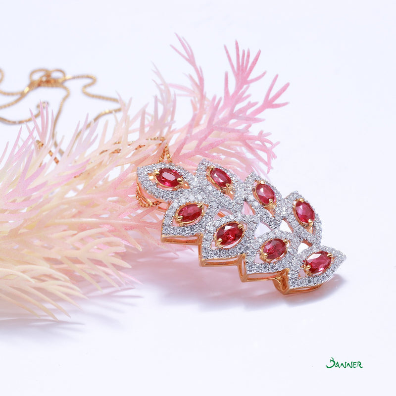 Ruby and Diamond Pan-Khat Pendant and Brooch